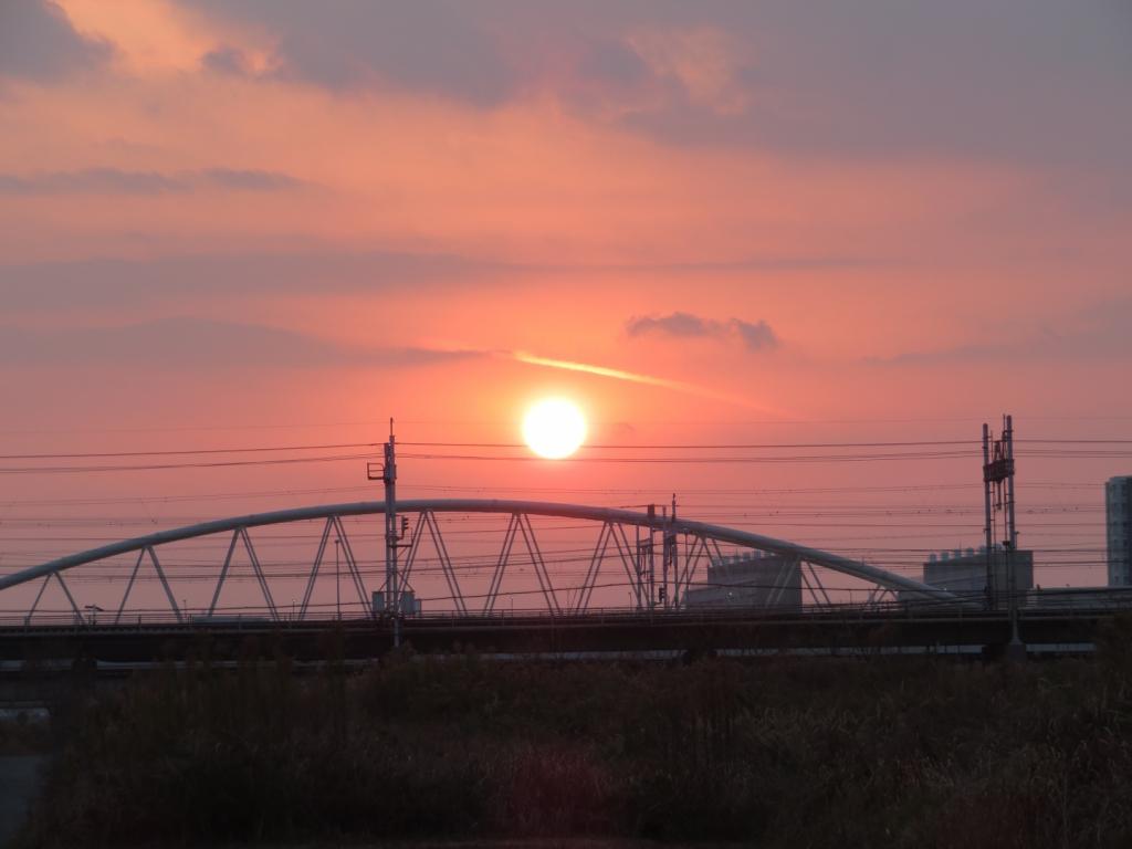 夕暮れ時の太陽