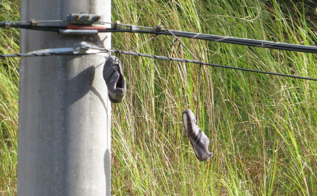電線に引っ掛かった靴