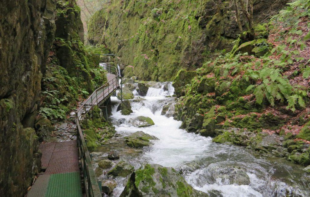 不動滝に続く金属製の足場
