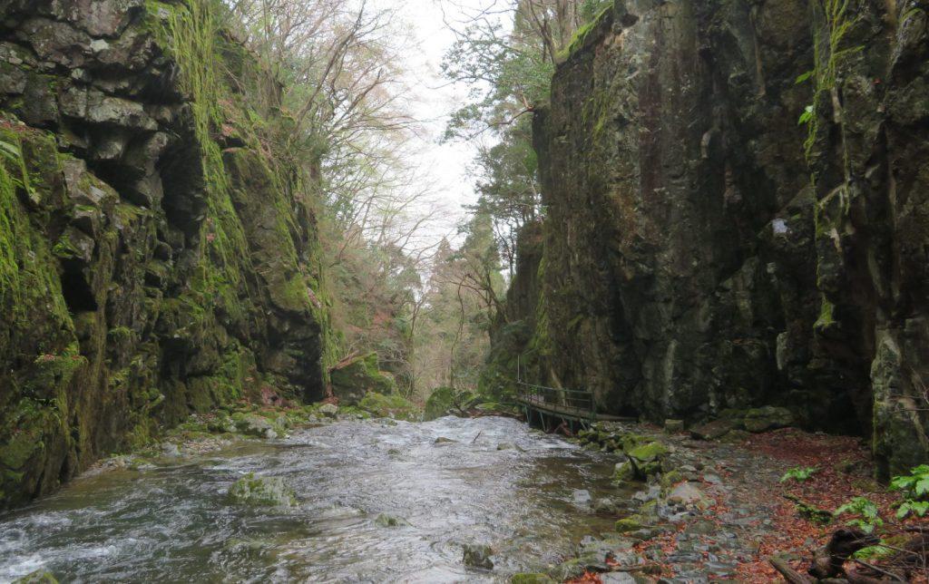 両側を崖に挟まれた渓流