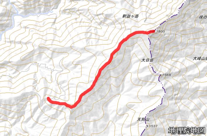 太尾登山口から釈迦ヶ岳頂上までのルート