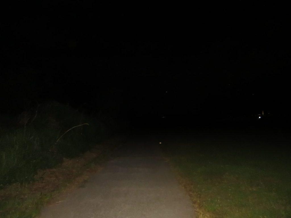 夜の河川敷の道