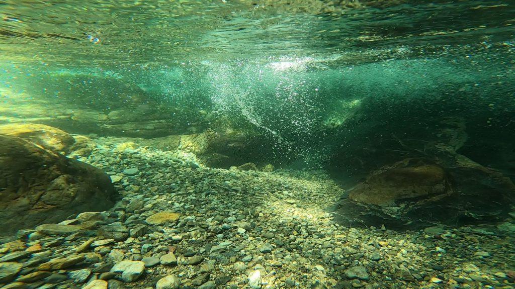 天川村の渓流の水中